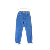 WRANGLER 80s High Waist Blue Jeans Worn In Denim Straight Leg Boyfriend Mom Jeans Vintage Farmers Mechanics 1980s Hipster Grunge Womens