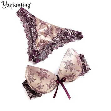 Yaqianting Women Bra Set High Quality Sexy Push Up Bra Satin Luxury Lace Flower Charming Underwear Brief Lingerie Plus size