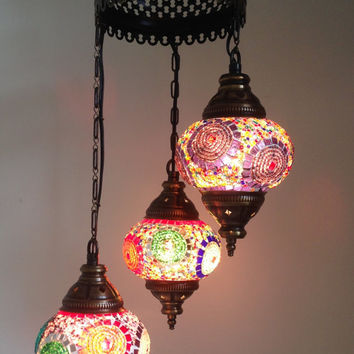 Best turkish lamps products on wanelo colorful lamp with 3 hand made mosaic bulbs turkish lamp lante chandelier aloadofball Image collections