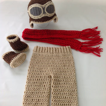 New Listing - Baby Aviator Outfit - Crochet Aviator Costume - Baby Pilot Costume - Crochet - Photography Prop - Diaper Cover Set w/Boots