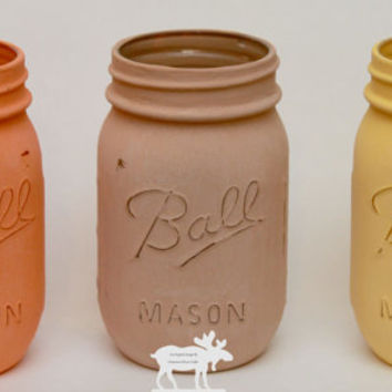 Fall Mason Jars / Mason Jar Decor / Painted Mason Jars / Chalk Mason Jars / Autumn Mason Jars / Rustic Mason Jars  / Wedding Mason Jars