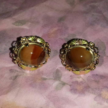 gold 12k earrings Black Hills Gold agate L.S. Peterson Company brown Banded Agate Screw back Earrings