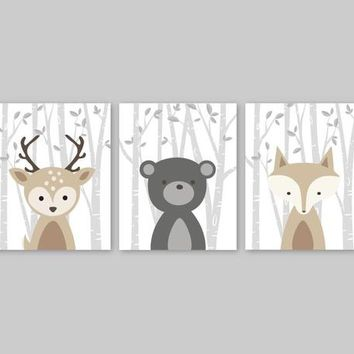 Woodland Nursery Decor Forest Animal Pictures Baby Animal Wall Art Bear Deer Fox Forest Friends Wraps
