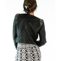 Spiked to Perfection Leather Jacket - Black