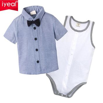 IYEAL Baby Boy Clothes 2017 Summer New Brand Cotton C Clothing Suit For Newborn Baby Bow Tie Shirts + Bodysuit for 0-18 M
