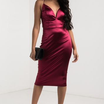 AKIRA Crisscross Open Back Plunging Sweetheart Thin Strap Satin Midi Bodycon Dress in Wine, Violet