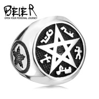 Supernatural New Design Cool Punk Big Pentacle Pentagram Ring For Man Fashion Party Biker Jewelry BR8-165
