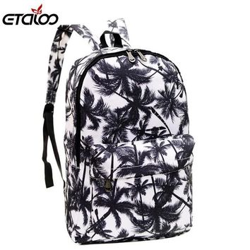 Women Cotton Canvas Funky Print Basic Backpack