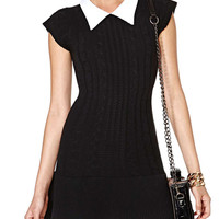 Pointed Flat Collar Short Sleeve Knit Mini A-Line Dress