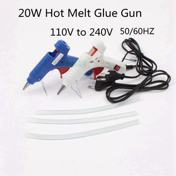 LUBAN 20W EU Plug Hot Melt Glue Gun with Free 3pc 20cm 7mm Glue Stick Industrial Mini Guns Thermo Electric Heat Temperature Tool