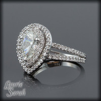 Pear Shaped Diamond Engagement Ring with Diamond Double Halo - LS1401