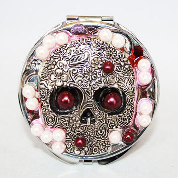 Jeweled Skull Compact Mirror, Mother's Day Gift, Pink and Burganday Compact
