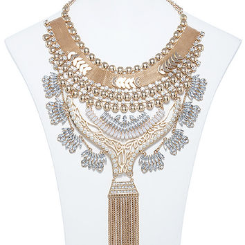 ORNATE MIXED CRYSTAL TIERED BIB NECKLACE SET