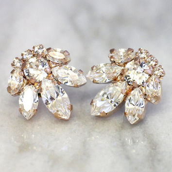 Bridal Cluster Earrings,Swarovski Crystal Earrings,White Crystal Cluster Earrings,Bridesmaids Swarovski Earrings,Bridal Rose Gold Earrings