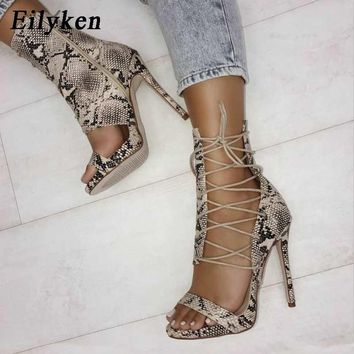 Eilyken Gladiator High Heels Leopard  Sandals Women Sexy Sandal Fashion Design Open Toe Lace Up Pumps Shoes Woman Boots