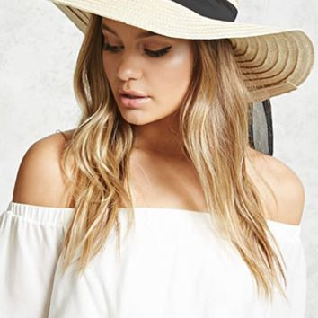 Wide-Brim Straw Floppy Hat