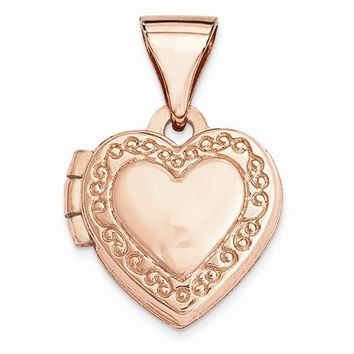 Rose Gold Heart-Shaped Scrolled Locket