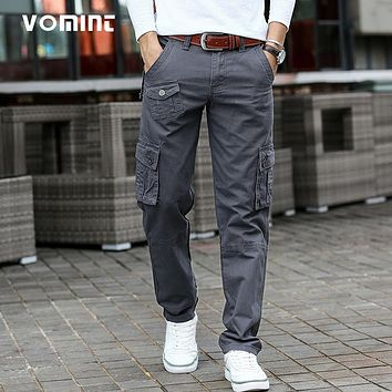 New Arrival Men Casual Cargo Pant Cotton Military Trousers Regular Straight