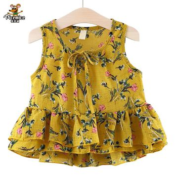 Picemice Brand Baby Girls Dresses Summer Cotton Sleeveless O-Neck Collar Dress Floral Print Princess Dresses Baby Girl Clothing