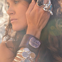 XMAS IN JULY Lux Divine Boho Recycled Leather Amethyst Druzy Gemstone Cuff
