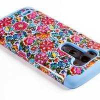 DandyCase 2in1 Hybrid High Impact Hard Colorful Blooming Flowers Pattern + Sky Blue Silicone Case Cover For LG G3 - Includes DandyCase Keychain Screen Cleaner