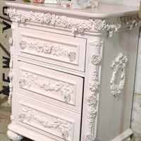 RESERVE DEBRA Painted Cottage Shabby Romantic Night Table NT779