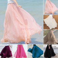 New Maxi Long Bohemian Restore Women Shinning Chiffon Long Skirt 7 Colors 14273 One Size = 1745406404