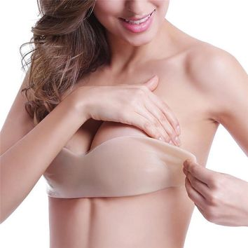 Trending Women Silicone Push Up Invisible Self Adhesive Strapless Bandage Blackless Solid Bra