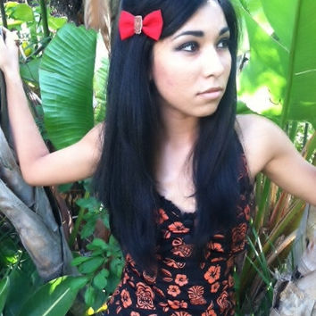 Tropical Tiki Hair Bow for Rockabilly Pin by TiedInaKnotBowtique