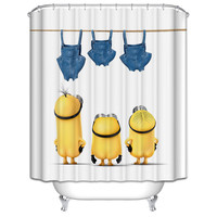 New 3D Shower Curtains Cartoon small yellow people Printing Waterproof Washable Thickened  Bathroom Curtains +12 C Type Hooks