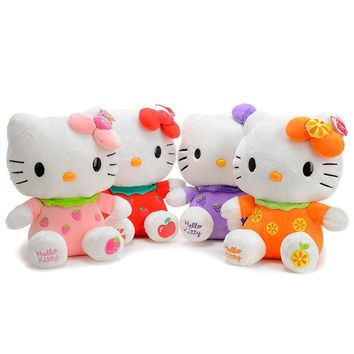 "1pcs 8"" 20cm Fruit style Hello kitty Cat Plush Toys stuffed animal Dolls home decoration for baby children's christmas gift"