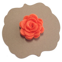 Orange Felt Lapel Flower, Mens Lapel Flower, Mens Lapel Pin, Mens Boutonniere, Wedding Boutonniere, Wedding Lapel Pin