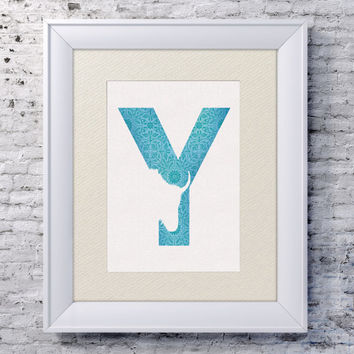5x7 Alphabet Print 'Y is for Yak' - Animal Name Art - Baby Alphabet Print - Letter Y - Zoo Animal Print - Minimalist Baby Room