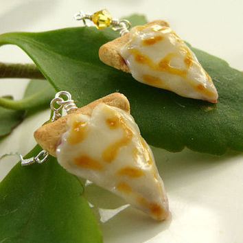 NEW Cheese Pizza Slice Earrings Miniature Food Polymer by TheMenu