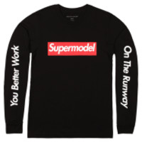 ALEX AND CHLOE / SUPERMODEL, YOU BETTER WORK - LONG SLEEVE T-SHIRT - BLACK W/RED : ALEX & CHLOE - Brian Lichtenberg, Homies, Wildfox Couture, UNIF, Homies South Central at ALEX & CHLOE