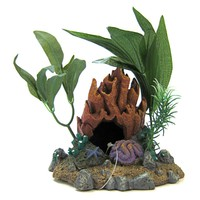 Blue Ribbon Pet Products Resin Ornament Fire Coral Cave with Plants Aquarium Coral & Anemones Ornaments