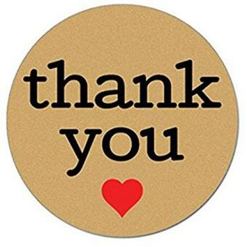 Natural Paper Kraft Thank You Sticker Labels with Red Hearts, 1 Inch Round, 1000 Stickers per Roll
