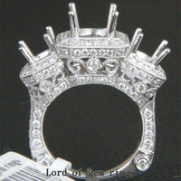 7mm/5mm Round Cut 2.06CTW Diamonds 18K White Gold Semi Mount Ring,Antique Style
