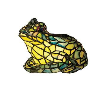 "Meyda 7""H Frog Tiffany Glass Accent Lamp"