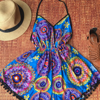 Hippies Backless Floral Mandala Boho Gypsy Playsuit Resort Halter Romper summer Clothing Beach party festival Nightwear ladies blue