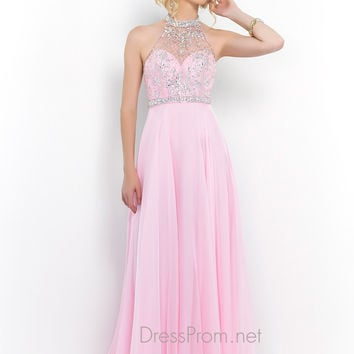 Blush Sheer Illusion Neckline Prom Dress 9990