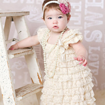 Cream petti dress - baby girl dress - cream lace - newborn toddler cream ivory petti dress - flower girl dress