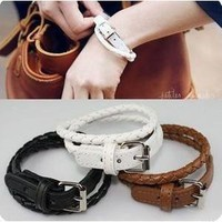 [5649-Black] White Color Leather with Steel Buckle Bracelet