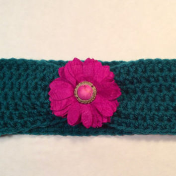 Crochet Headband Embellished with a Taffeta Flower, Women's Hairband, Crochet Headwrap, Fall, Winter Headband -  READY TO SHIP!