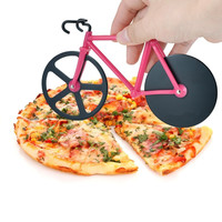 Bicycle Pizza Cutter Dual Stainless Steel Bike Pizza Cutter Wheel Pizza Round Knife Tools( Red Green)