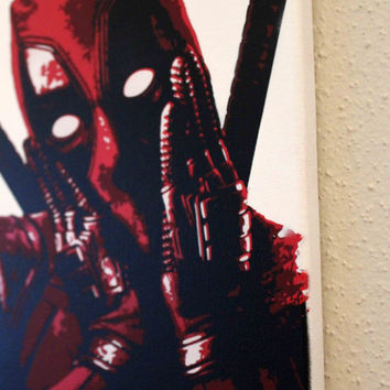 Deadpool the movie Ryan Reynolds Pop Art Stencils Spray Paint on 9x12 Canvas