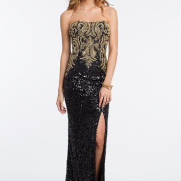 Beaded Scroll Strapless Dress
