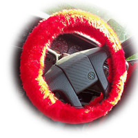Red faux fur furry fluffy fuzzy car Steering wheel cover
