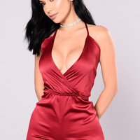 My Lady Satin Romper - Bugundy