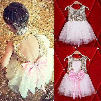 2016 New Summer Sequins Baby Girl Dress Party Gown Wedding Dresses Bow Heart Backless Sundress